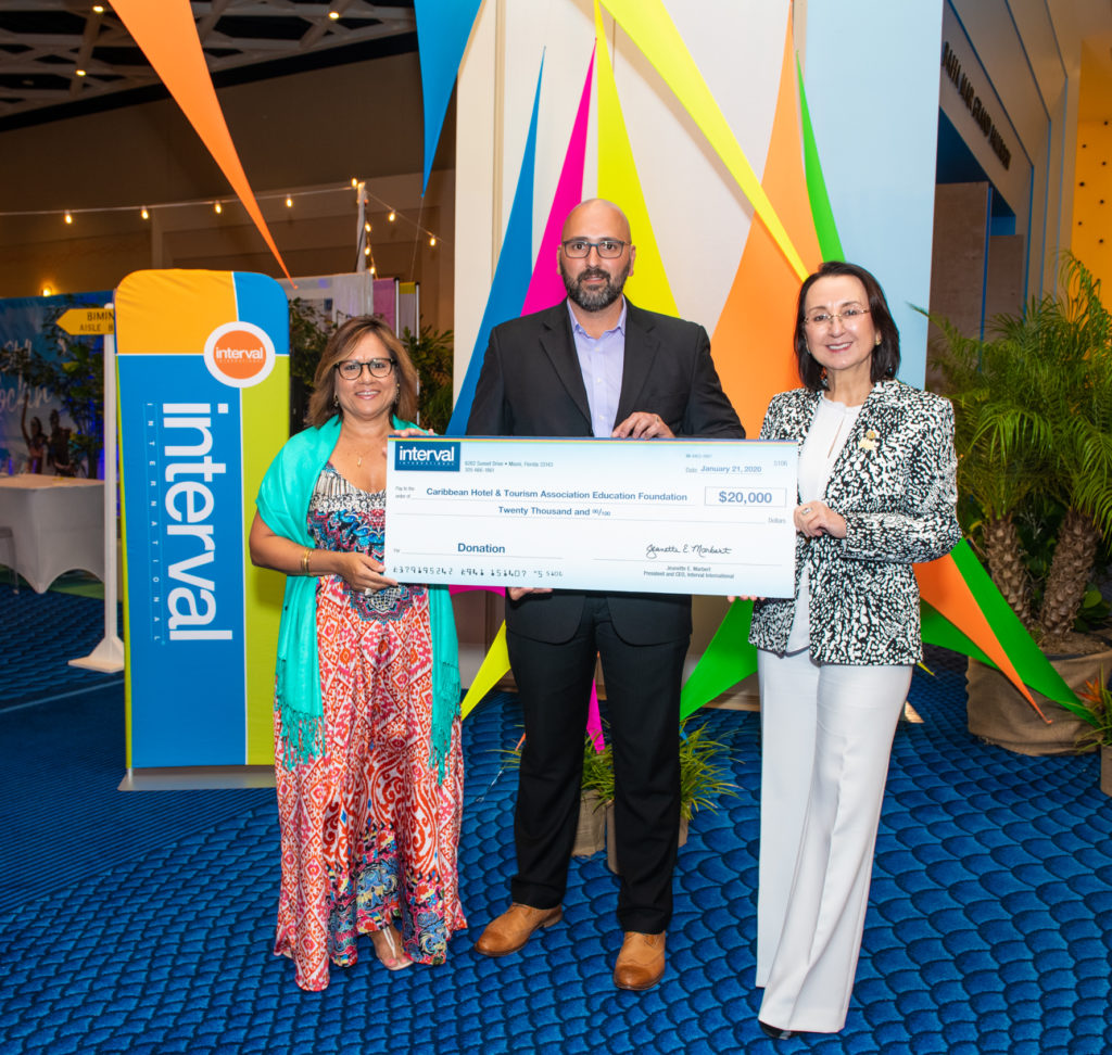 Interval International's 2019  check presentation to CHTA Education Foundation.  Pictured (left to right) – Patricia Affonso-Dass, Caribbean Hotel and Tourism Association president; Samy Gonzalez, Interval International's business development manager for the Caribbean and Southeast U.S.; and Karolin Troubetzkoy, Caribbean Hotel and Tourism Association Education Foundation chairman.
